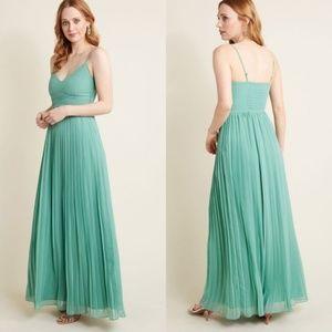 NWOT Modcloth Sage Pleated Chiffon Maxi Dress